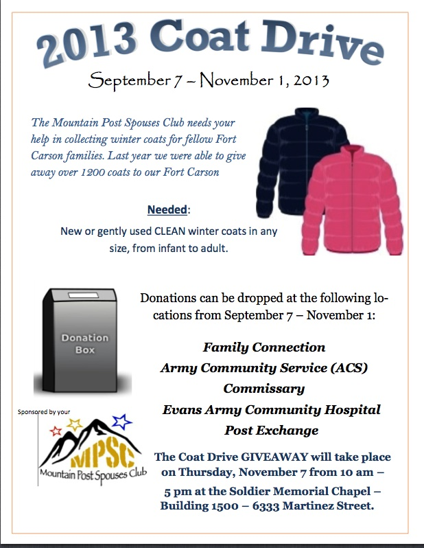 Upcoming Events Fort Carson Coat Drive Pueblo
